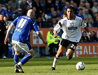 Photo: Steve Bond.<br />Leicester City v Derby County. Coca Cola Championship. 06/04/2007. Giles Barnes (R) attacks danny Tiatto (L)