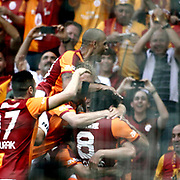 Galatasaray's Albert Riera Ortega celebrate his goal with team mate during their Turkish superleague soccer derby match Galatasaray between Trabzonspor at the AliSamiYen spor kompleksi TT Arena in Istanbul Turkey on Saturday, 18 May 2013. Photo by Aykut AKICI/TURKPIX
