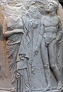 Sculpted marble column drum. Circa 325-300 BC. Found in Ephesus at the temple of Artemis. This view shows a draped woman (possibly Alcestis or Eurydice), and a figure of Hermes Psychopompos.