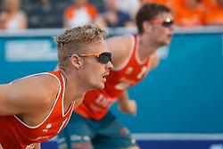 20180716 NED: CEV DELA Beach Volleyball European Championship day 2<br />Speciale Oakley zonnebrillen met Euro Beach 2018 print, Sven Vismans (1), Jannes van der Ham (2) of The Netherlands <br />©2018-FotoHoogendoorn.nl