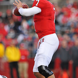 Oct 10, 2009; Piscataway, NJ, USA; Rutgers quarterback Tom Savage (7) looks down field during first half NCAA college football action between Rutgers and Texas Southern at Rutgers Stadium.