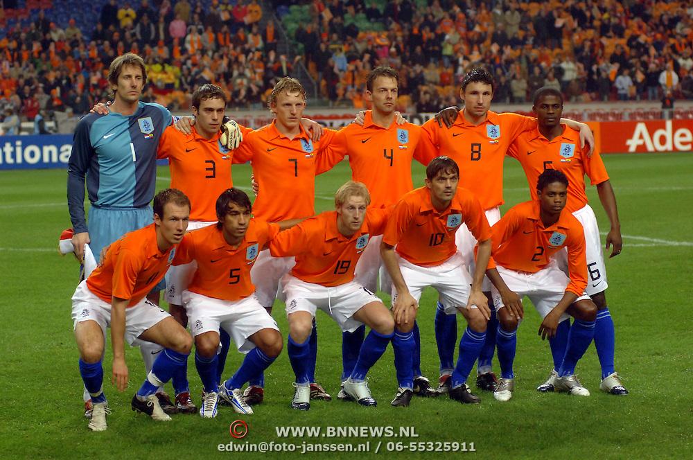 NLD/Amsterdam/20060301 - Voetbal, oefenwedstrijd Nederland - Ecuador, teamfoto Nederlands Elftal