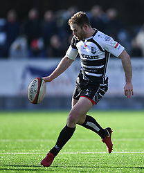 POntypridds' Gearing Walsh<br /> Photographer Mike Jones/Replay Images<br /> <br /> Principality Premiership Merthyr v Pontypridd - Saturday 17th February 2018 - The Wern Merthyr Tydfil<br /> <br /> World Copyright © Replay Images . All rights reserved. info@replayimages.co.uk - http://replayimages.co.uk