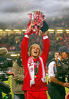 Photo: Scott Heavey.<br /> Middlesbrough v Bolton Wanderers. Carling Cup Final. 29/02/2004.<br /> Gaizka Mendieta celebrates the win
