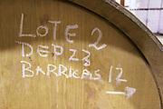 barrel with inscription Lote 2 Barricas 12 Bodega Agribergidum, DO Bierzo, Pieros-Cacabelos spain castile and leon