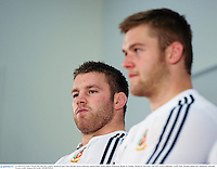 24 June 2013; Sean O'Brien, left, and Dan Lydiate, British & Irish Lions, during a press conference ahead of their match against Melbourne Rebels on Tuesday. British & Irish Lions Tour 2013, Press Conference. AAMI Park, Olympic Boulevard, Melbourne, Australia. Picture credit: Stephen McCarthy / SPORTSFILE