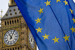 © Licensed to London News Pictures. 08/05/2017. London, UK. The flag of the EU seen in front of Big Ben, where The flags of all 27 EU members states (not al pictured) are currently flying around parliament Square, opposite the houses of Parliament in Westminster, London, ahead of Europe Day tomorrow (Tues). Europe Day marks the anniversary of Schuman declaration, which was the basis for the formation of the European Union. Photo credit: Ben Cawthra/LNP