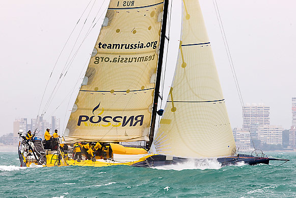 © Sander van der Borch.Alicante, 11 October 2008. Start of the Volvo Ocean Race. Team Russia  at the start of the first leg to from Alicante  to Capetown..