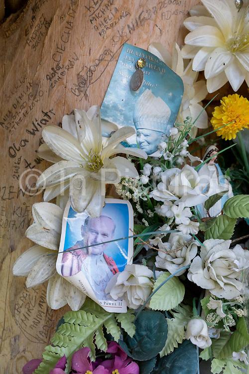 A shrine to Polish-born Pope John Paul II, on 17th September 2019, in Dolina Chocholowska, near Zakopane Malopolska, Poland. Jan Pawel II; born Karol Jozef Wojtyla 1920-2005 was head of the Catholic Church and sovereign of the Vatican City State from 1978 to 2005.