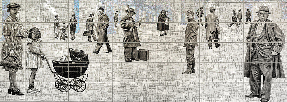 """""""Elevated"""" , a mosaic by artist Jean Shin at the 63rd station of the new Second Avenue Subway. It depicts people from an era when an  Elevated train was still running above Third Avenue."""
