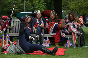 Monarchists celebrate their Queen's Diamnond Jubilee weeks before the Olympics come to London. The UK gears enjoys a weekend and summer of patriotic fervour as their monarch celebrates 60 years on the throne. Across Britain, flags and Union Jack bunting adorn towns and villages.