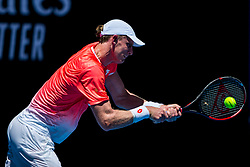 January 14, 2019 - Melbourne, VIC, U.S. - MELBOURNE, AUSTRALIA - JANUARY 14 : Kevin Anderson of ÊSouth Africa returns the ball during day 1 of the Australian Open on January 14 2019, at Melbourne Park in Melbourne, Australia.(Photo by Jason Heidrich/Icon Sportswire) (Credit Image: © Jason Heidrich/Icon SMI via ZUMA Press)