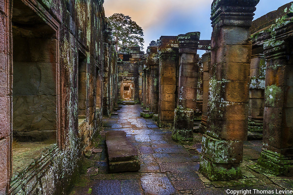 Inside structure of Temple Angkor Kdei after a rain.