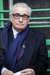 © Licensed to London News Pictures. 17/02/2014. London, UK. Director Martin Scorsese attends at the Michael Powell and Emeric Pressburger commemoration, with a blue plaque, outside the Dorset House on Gloucester Place. Photo credit : Andrea Baldo/LNP