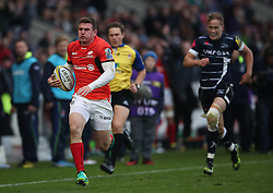 Saracens' Ben Spencer runs on to scores try during win over Sale Sharks during the Aviva Premiership match at The AJ Bell Stadium, Sale.