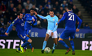 Lukas Nmecha of Manchester City © is chased down the the Leicester city defence .Carabao Cup quarter final match, Leicester City v Manchester City at the King Power Stadium in Leicester, Leicestershire on Tuesday 19th December 2017.<br /> pic by Bradley Collyer, Andrew Orchard sports photography.