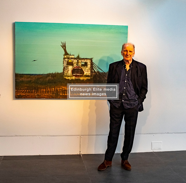 Pictured: Jock McFadyen in front of Looking out to sea 4 (2005)<br /><br />Artist Jock McFadyen's 70th birthday year is being celebrated with his Lost Boat Party exhibition at the Dovecot Studios, Edinburgh, (in partnership with The Scottish Gallery), of recent paintings which describe the romance and grandeur of the Scottish landscape, alongside the urban dystopia for which the artist is known<br />Ger Harley | EEm 10 June 2021