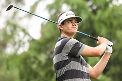 May 5, 2018 - Charlotte, NC, U.S. - CHARLOTTE, NC - MAY 05: Beau Hossler tees off during the 3rd round of the Wells Fargo Championship on May 05, 2018 at Quail Hollow Club in Charlotte, NC. (Photo by William Howard/Icon Sportswire) (Credit Image: © William Howard/Icon SMI via ZUMA Press)