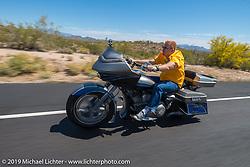 Paul Yaffe leads the Hamsters annual Dry Heat Run on Thursday of Arizona Bike Week 2014. USA. April 4, 2014.  Photography ©2014 Michael Lichter.