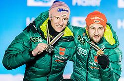 23.02.2019, Medal Plaza, Seefeld, AUT, FIS Weltmeisterschaften Ski Nordisch, Seefeld 2019, Skisprung, Herren, Siegerehrung, im Bild v.l. Silbermedaillengewinner Karl Geiger (GER), Weltmeister und Goldmedaillengewinner Markus Eisenbichler (GER) // Silver medalist Karl Geiger of Germany and World champion and Gold medalist Markus Eisenbichler of Germany during the winner Ceremony for the men's Skijumping HS130 competition of FIS Nordic Ski World Championships 2019 at the Medal Plaza in Seefeld, Austria on 2019/02/23. EXPA Pictures © 2019, PhotoCredit: EXPA/ Stefan Adelsberger