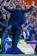 Rangers Manager Steven Gerrard punches the air following their victory over their rivals during the Ladbrokes Scottish Premiership match between Rangers and Celtic at Ibrox, Glasgow, Scotland on 12 May 2019.