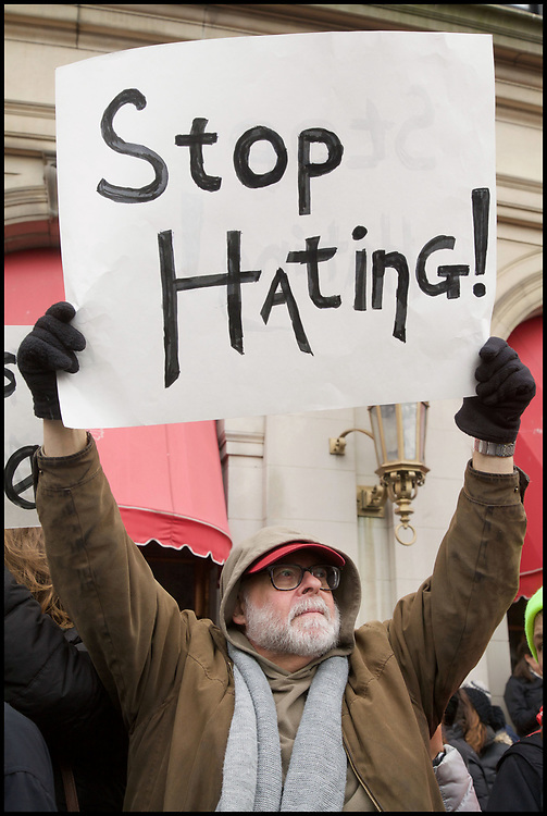 Thousands of protesters jammed Copley Square on January 28, 2017 to protest President Trump's order blocking Syrian refugees and immigrants from six other predominantly Muslim countries.