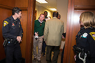 The media  under threat of arrest leave the hallway were a sit-in was staged by the NAACP's President, Cornell William Brooks the day before a vote on Sessions took place.