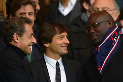File photo : Former French President Nicolas Sarkozy, Leonardo and George Weah during the French First League soccer match, French First League, Paris Saint Germain Vs Stade Brestois at Parc des Princes in Paris, France, on May 18, 2013. Former football star George Weah has been elected as Liberia's president. Mr Weah is well ahead of opponent Joseph Boakai with more than 60% of the vote. Photo by Henri Szwarc/ABACAPRESS.COM