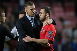 March 22, 2019 - Na - Lisbon, 03/22/2019 - The Portuguese Football Team received this afternoon their Ukrainian counterpart at the Estádio da Luz in Lisbon, in the Group B match, in the qualifying round for the 2020 European Championship. Bernardo Silva; Andriy Shevchenko  (Credit Image: © Atlantico Press via ZUMA Wire)