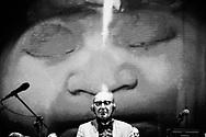 """Singer-songwriter Franco Battiato on stage at Piazza del Plebiscito. Franco Battiato opens the 10th edition of """"Napoli Teatro Festival"""" in Naples, southern Italy, June 5, 2017.<br /> Eliano Imperato / Controluce"""