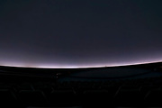 The round screen in a planetarium silver screen with horizon