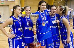 Team of Celje: Iva Ciglar, Amadeja Cverlin, Tjasa Kopusar, Nika Baric and Ines Kerin celebrate with the Cup at finals match of Slovenian 1st Women league between KK Hit Kranjska Gora and ZKK Merkur Celje, on May 14, 2009, in Arena Vitranc, Kranjska Gora, Slovenia. Merkur Celje won the third time and became Slovenian National Champion. (Photo by Vid Ponikvar / Sportida)