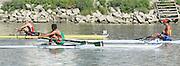 Linz. AUSTRIA.    Men's Single Sculls,  Semi Final 1.  winner, ROU BM1X, Petru CODAU, second BEL BM1X, Hannes OBRENO and Third, MEX BM1X, Juan Carlos CABRERA. FISA U23 World Championships, Linz-Ottensheim Rowing Course.  10:45:06  Saturday  27/07/2013. [Mandatory Credit, Peter Spurrier/ Intersport Images] ,