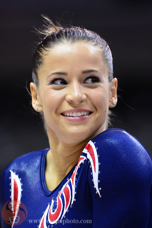 June 29, 2012; San Jose, CA, USA; Alicia Sacramone smiles while stretching during the 2012 USA Gymnastics Olympic Team Trials at HP Pavilion.