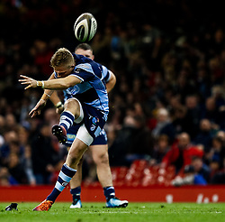 Gareth Anscombe of Cardiff Blues kicks a penalty<br /> <br /> Photographer Simon King/Replay Images<br /> <br /> Guinness PRO14 Round 21 - Cardiff Blues v Ospreys - Saturday 27th April 2019 - Principality Stadium - Cardiff<br /> <br /> World Copyright © Replay Images . All rights reserved. info@replayimages.co.uk - http://replayimages.co.uk