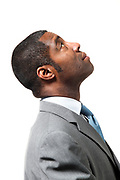 black man close-up portrait over white background