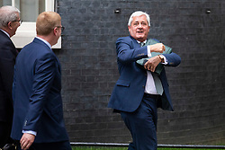 © Licensed to London News Pictures. 04/06/2018. London, UK. PAUL DRECHSLER, President of the CBI, leaves 10 Downing Stret after a meeting of business leaders with Prime Minister Theresa May, The Chancellor of The Exchequer Philip Hammond, Secretary of State for International Trade Liam Fox and Secretary of State for Exiting the European Union David Davis. Photo credit: Rob Pinney/LNP
