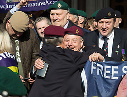 London, March 28th 2017. The wife of Marine A Sergeant Alexander Blackman, Claire, leaves court with her husband's legal team at the Royal Courts of Justice after hearing her husband will be set free within two weeks following his conviction of manslaughter after a successful appeal against murder, when he shot dead a wounded Taliban combatant in Afghanistan.