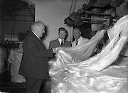 Mr William Norton (left) Minister for Industry and Commerce at Irish Ropes Ltd..05/07/1954
