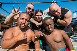 Johnny Greene's Midget wrestling show at the Full Throttle Saloon during the annual Sturgis Black Hills Motorcycle Rally. SD, USA. August 7, 2014.  Photography ©2014 Michael Lichter.
