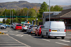 Queues start at the Burger King in Springkerse Retail Park, Stirling, before it opens at noon.