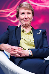 © Licensed to London News Pictures. 28/09/2017. London, UK.  The first British astronaut in space, Helen Sharman appears for the first time on same stage with NASA Apollo 15 American pilot Al Worden and British European Space Astronaut Tim Peake<br /> at the New Scientist Live event.  The three legendary astronauts are from different era's. Photo credit: Ray Tang/LNP
