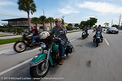 Bob Gamache of Lakeville, MA riding his 1948 Harley-Davidson FL Panhead through the Florida Keys in the final leg of the Cross Country Chase motorcycle endurance run from Sault Sainte Marie, MI to Key West, FL. (for vintage bikes from 1930-1948). Stage-10 covered 110 miles from Miami to the finish in Key West, FL USA. Sunday, September 15, 2019. Photography ©2019 Michael Lichter.