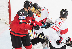 Alex Killorn of Canada vs Leonardo Genoni of Switzerland during the 2017 IIHF Men's World Championship group B Ice hockey match between National Teams of Canada and Switzerland, on May 13, 2017 in AccorHotels Arena in Paris, France. Photo by Vid Ponikvar / Sportida