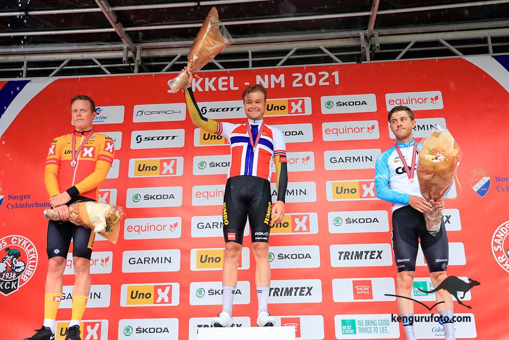 Tobias Svendsen Foss vant herrenes elite klasse under NM på sykkel 2021 i Kristiansand. Anders Skaarseth tok andre og Kristian Aasvold tredje.