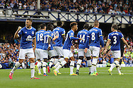 Everton players celebrate their first goal scorerd by Leighton Baines from the penalty spot. Premier league match, Everton v Stoke city at Goodison Park in Liverpool, Merseyside on Saturday 27th August 2016.<br /> pic by Chris Stading, Andrew Orchard sports photography.