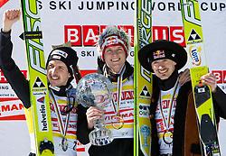 20.03.2011, Planica, Kranjska Gora, SLO, FIS World Cup Finale, Ski Nordisch, Skiflug Einzelbewerb, im Bild Podium der Skisprung gesamt Weltcupwertung v.l.n.r. Simon Ammann (SUI, 2. Platz), Thomas Morgenstern (AUT, 1. Platz) und Adam Malysz (POL, 3. Platz) // Podium of Skijump over all Worldcup v.l.t.r. Simon Ammann (SUI, 2. place), Thomas Morgenstern (AUT, 1. place) und Adam Malysz (POL, 3. place) . during individual competition of the Ski Jumping World Cup finals in Planica, Slovenia, 20/3/2011. EXPA Pictures © 2011, PhotoCredit: EXPA/ J. Groder