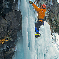"""Doug Chabot ice climbs on """"Come & Get It,"""" a difficult route in Hyalite Canyon, near Bozeman, Montana."""
