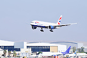 Israel, Ben-Gurion international Airport British Airways commercial jet landing
