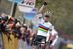 February 9, 2019 - Lille U23, BELGIUM - British world champion Thomas Pidcock celebrates as he crosses the finish line to win the U23 race of the Krawatencross cyclocross in Lille, the eighth and last stage in the DVV Trofee Cyclocross competition, Saturday 09 February 2019. BELGA PHOTO DAVID STOCKMAN (Credit Image: © David Stockman/Belga via ZUMA Press)